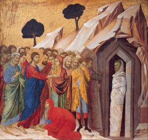 The Raising of Lazarus, Duccio by Duccio, 1310-11
